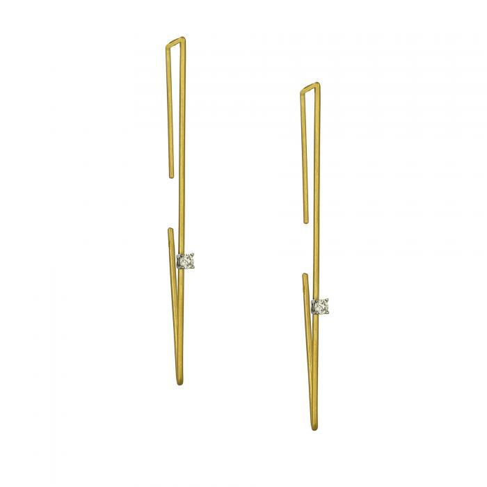 SKU-23029 / Σκουλαρίκια Χρυσός & Λευκόχρυσος Κ14 με Ζιργκόν