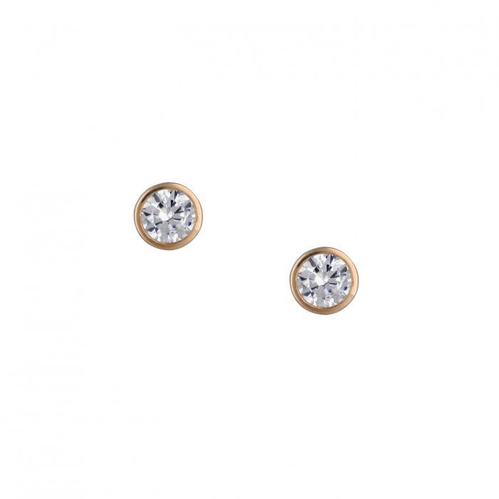 SKU-23670 / Σκουλαρίκια Μονόπετρο Ροζ Χρυσός Κ14 με Ζιργκόν