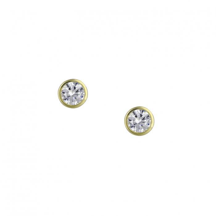 SKU-23668 / Σκουλαρίκια Μονόπετρο Χρυσός Κ14 με Ζιργκόν