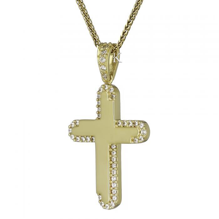 SKU-23093 / Σταυρός Facad'oro Χρυσός Κ14 με Ζιργκόν