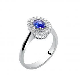 Δαχτυλίδι Λευκόχρυσος Κ18 με  Ζαφείρι & Διαμάντια SKU-24616