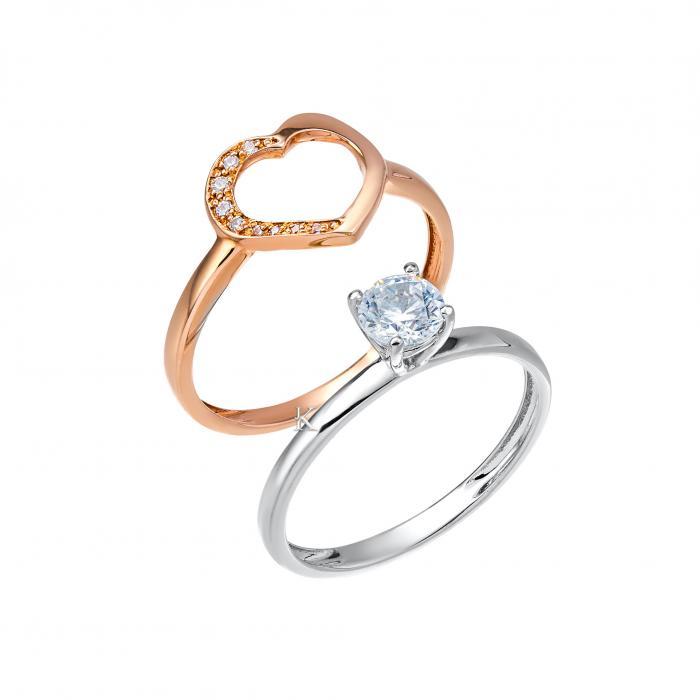 SKU-24860 / Δαχτυλίδι Μονόπετρο Ροζ Χρυσός & Λευκόχρυσος Κ14 με Ζιργκόν