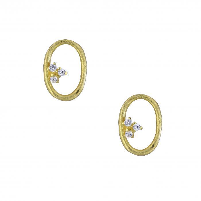 SKU-24502 / Σκουλαρίκια Χρυσός Κ14 με Ζιργκόν