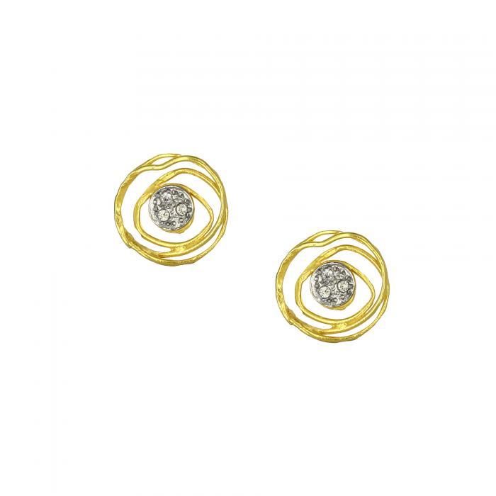 SKU-24504 / Σκουλαρίκια Χρυσός & Λευκόχρυσος Κ14 με Ζιργκόν