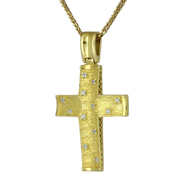 SKU-24821 / Σταυρός Χρυσός Κ18 με Διαμάντια