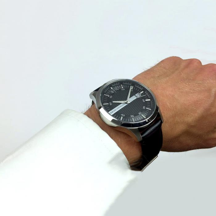 SKU-25465 / ARMANI EXCHANGE Hampton Black Leather Strap
