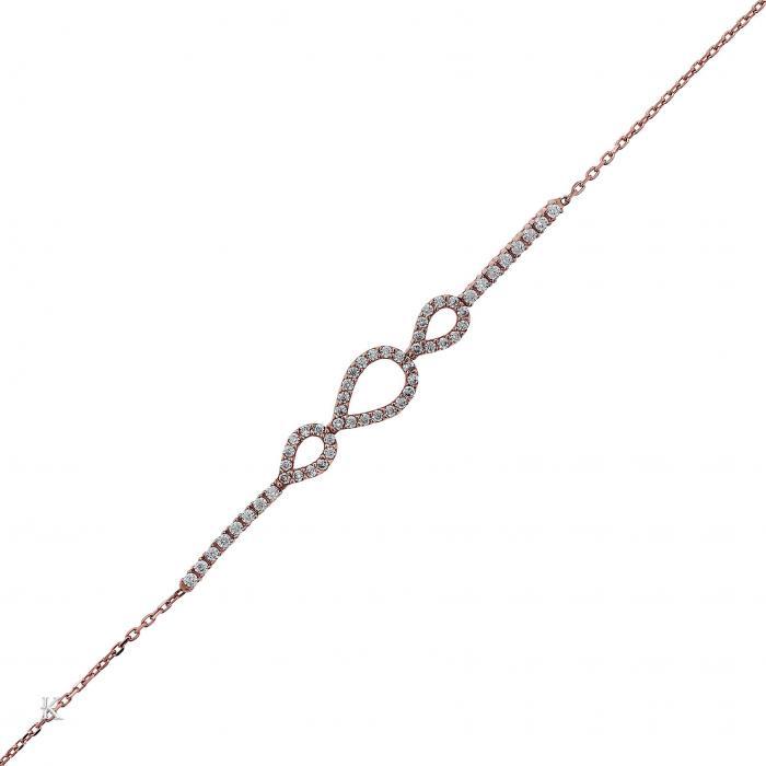 SKU-25354 / Βραχιόλι Ροζ Χρυσός Κ14 με Ζιργκόν