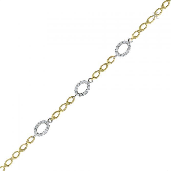 SKU-25756 / Βραχιόλι Χρυσός & Λευκόχρυσος Κ14 με Ζιργκόν
