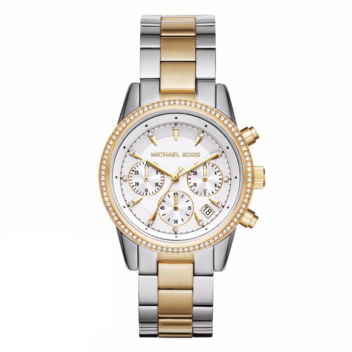 SKU-25473 / MICHAEL KORS Ritz Crystals Two Tone Stainless Steel Bracelet