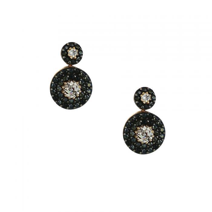 SKU-25394 / Σκουλαρίκια Ροζ Χρυσός Κ14 με Ζιργκόν
