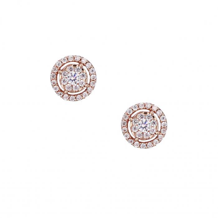 SKU-26956 / Σκουλαρίκια Ροζ Χρυσός Κ14 με Ζιργκόν