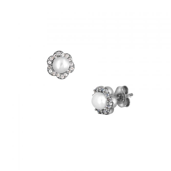 SKU-26770 / Σκουλαρίκια Λευκόχρυσος Κ14 με Μαργαριτάρια & Ζιργκόν