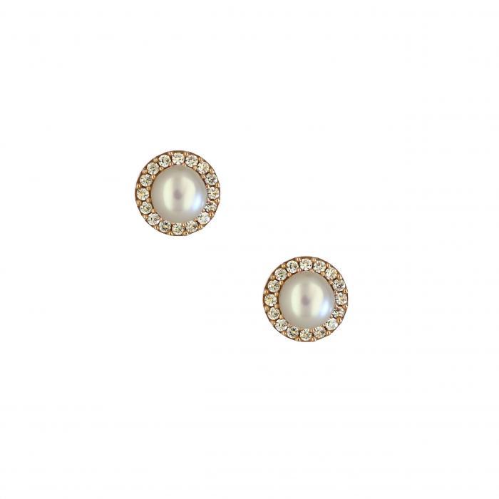 SKU-26799 / Σκουλαρίκια Ροζ Χρυσός Κ14 με Μαργαριτάρια & Ζιργκόν
