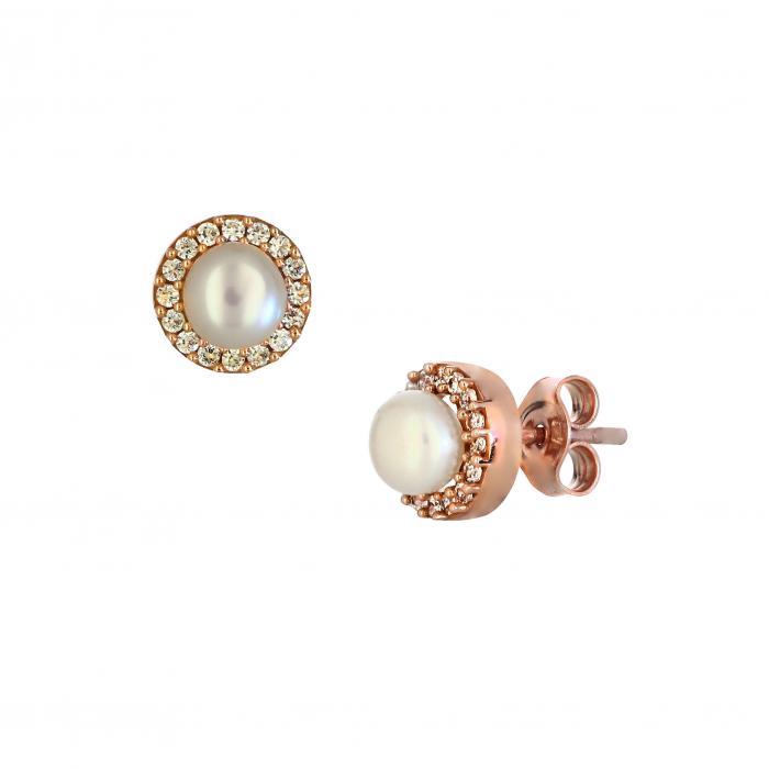 SKU-26786 / Σκουλαρίκια Ροζ Χρυσός Κ9 με Μαργαριτάρια & Ζιργκόν