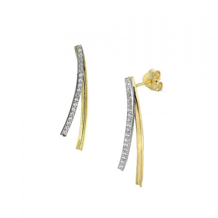 SKU-26887 / Σκουλαρίκια Χρυσός & Λευκόχρυσος Κ14 με Ζιργκόν