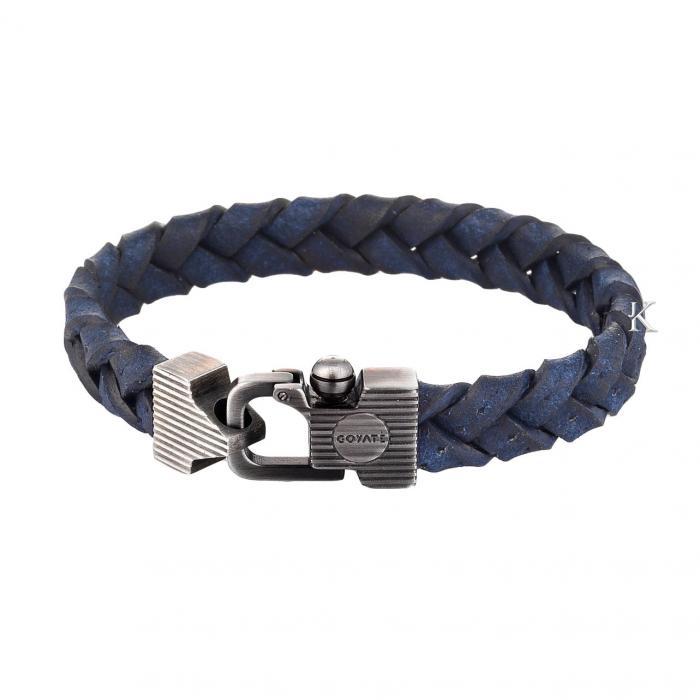SKU-27441 /  Βραχιόλι από Aνοξείδωτο Aτσάλι & Μπλε Δέρμα