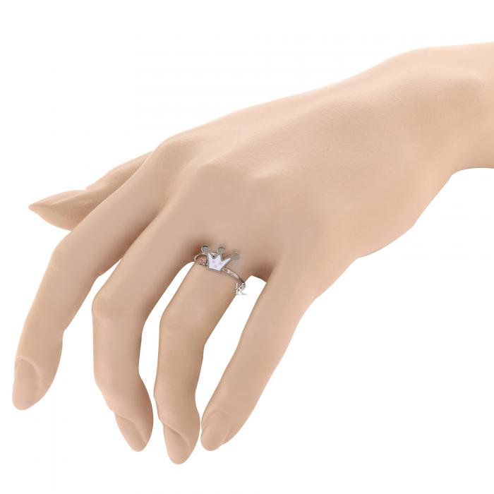 Δαχτυλίδι Λευκόχρυσος Κ9 με Σμάλτο & Ζιργκόν