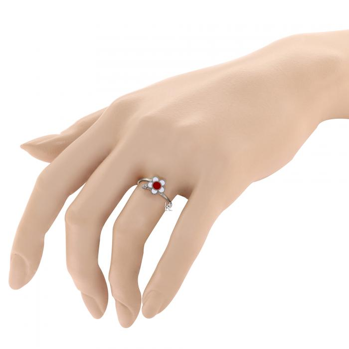 SKU-27351 / Δαχτυλίδι Λευκόχρυσος Κ9 με Σμάλτο & Ζιργκόν