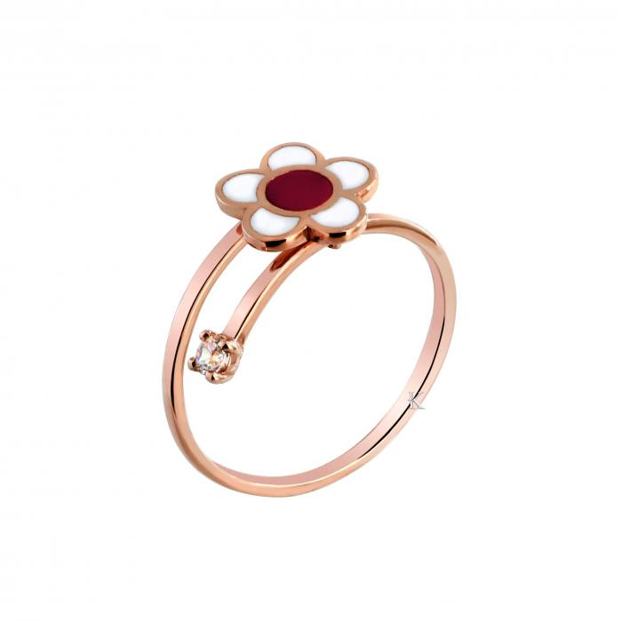 SKU-27352 / Δαχτυλίδι Ροζ Χρυσός Κ9 με Σμάλτο & Ζιργκόν