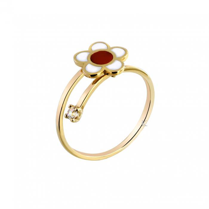 SKU-27353 / Δαχτυλίδι Χρυσός Κ9 με Σμάλτο & Ζιργκόν