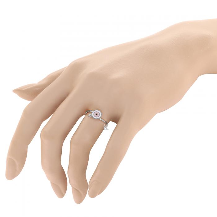 SKU-27348 / Δαχτυλίδι Μάτι Λευκόχρυσος Κ9 με Σμάλτο & Ζιργκόν
