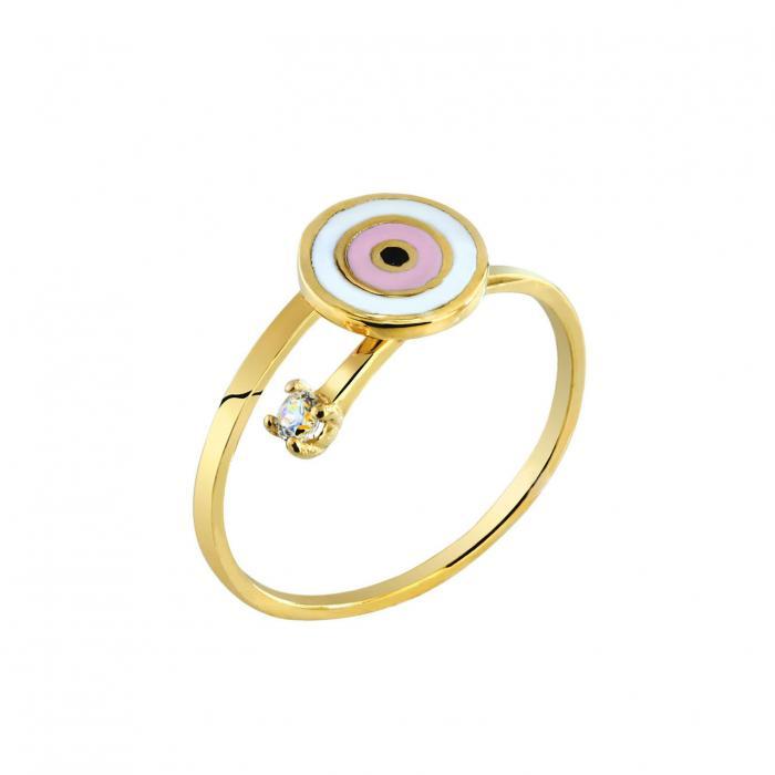 SKU-27349 / Δαχτυλίδι Μάτι Χρυσός Κ9 με Σμάλτο & Ζιργκόν