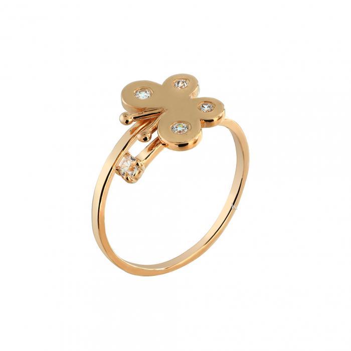 SKU-27347 / Δαχτυλίδι Ροζ Χρυσός Κ9 με Ζιργκόν