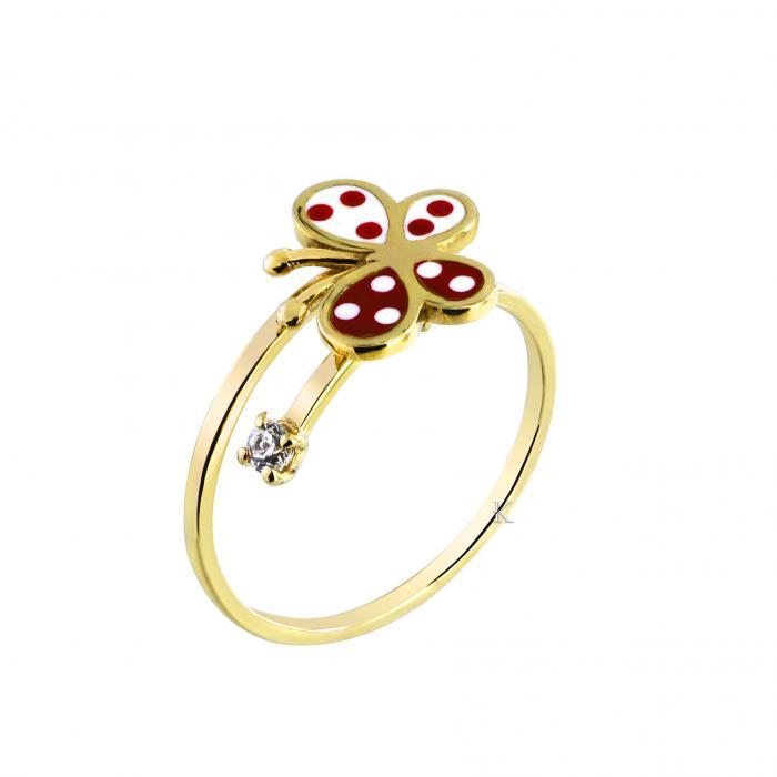 SKU-27342 / Δαχτυλίδι Χρυσός Κ9 με Σμάλτο & Ζιργκόν