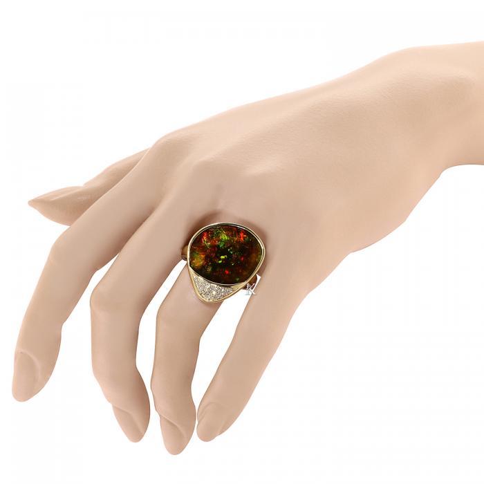 Δαχτυλίδι Χρυσός Κ18 με Οπάλιο & Διαμάντια