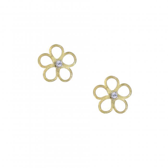 SKU-27041 / Σκουλαρίκια Χρυσός Κ14 με Ζιργκόν
