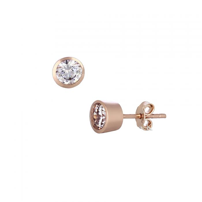 SKU-27597 /  Σκουλαρίκια Ροζ Χρυσός Κ14 με Ζιργκόν