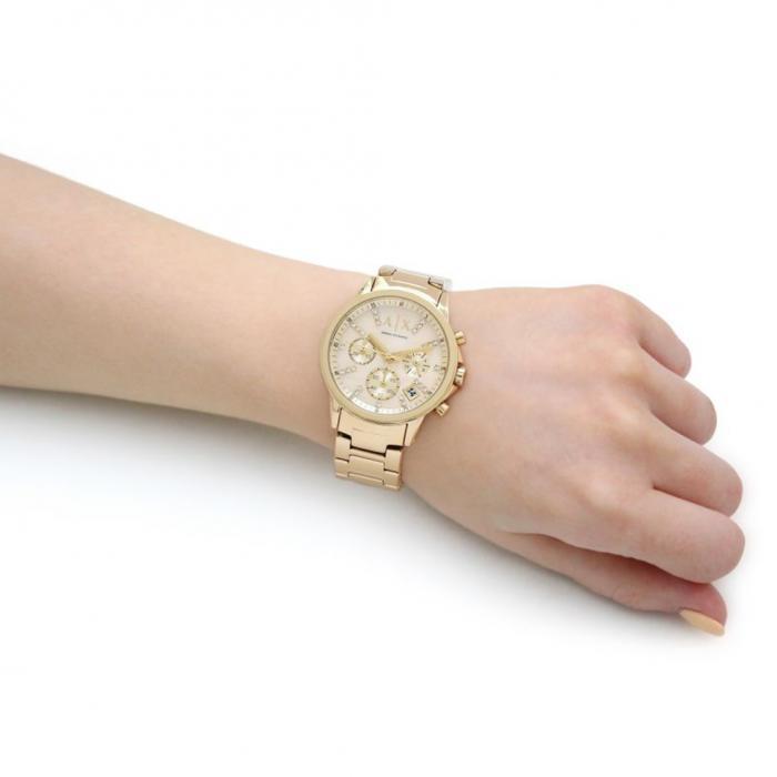 SKU-28627 / ARMANI EXCHANGE Banks Crystals Chronograph Gold Stainless Steel Bracelet