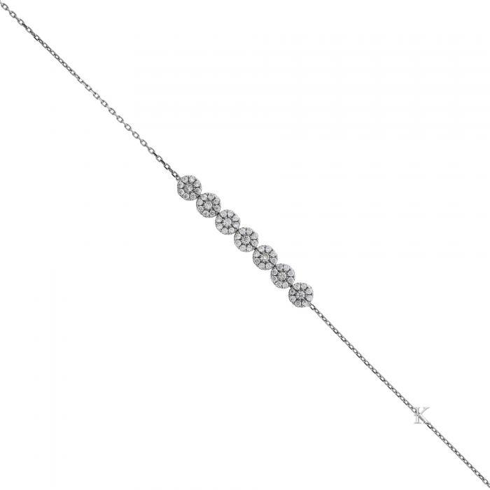 SKU-28945 / Βραχιόλι Λευκόχρυσος Κ14 με Ζιργκόν