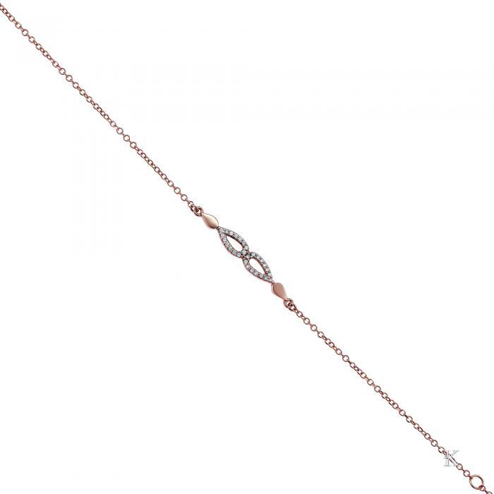 SKU-28953 / Βραχιόλι Ροζ Χρυσός Κ14 με Ζιργκόν