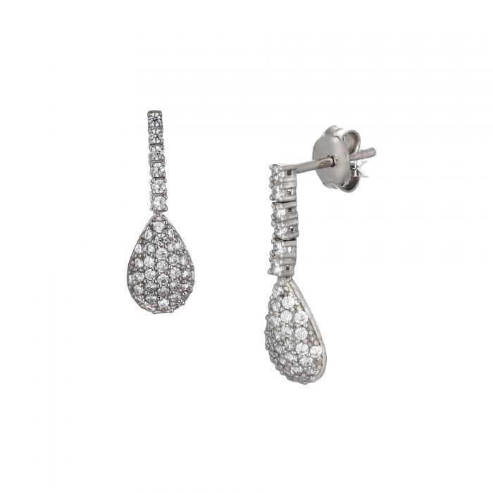 Σκουλαρίκια Λευκόχρυσος Κ14 με Ζιργκόν
