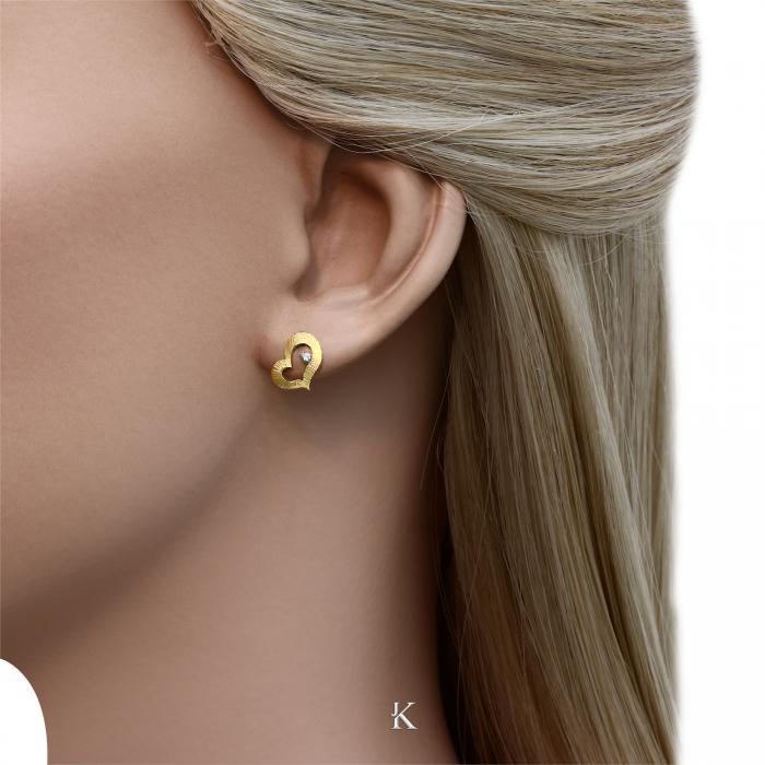 SKU-28202 / Σκουλαρίκια Χρυσός Κ14 με Ζιργκόν