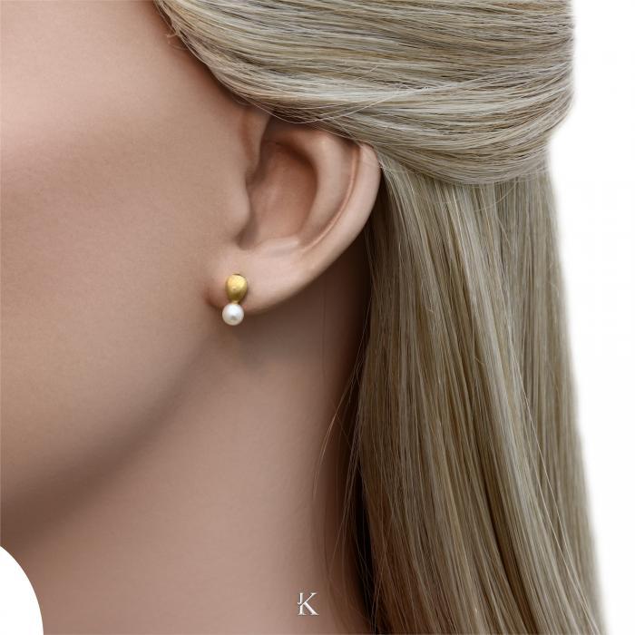 SKU-28264 / Σκουλαρίκια Χρυσός Κ14 με Μαργαριτάρια
