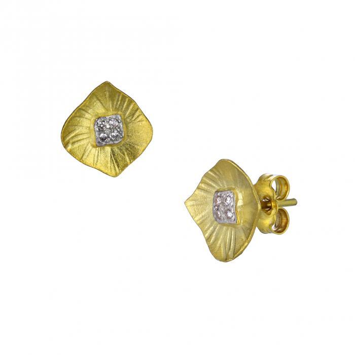 SKU-28492 / Σκουλαρίκια Χρυσός & Λευκόχρυσος Κ14 με Ζιργκόν