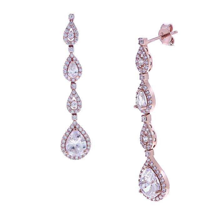 Σκουλαρίκια Ροζ Χρυσός Κ14 με Ζιργκόν