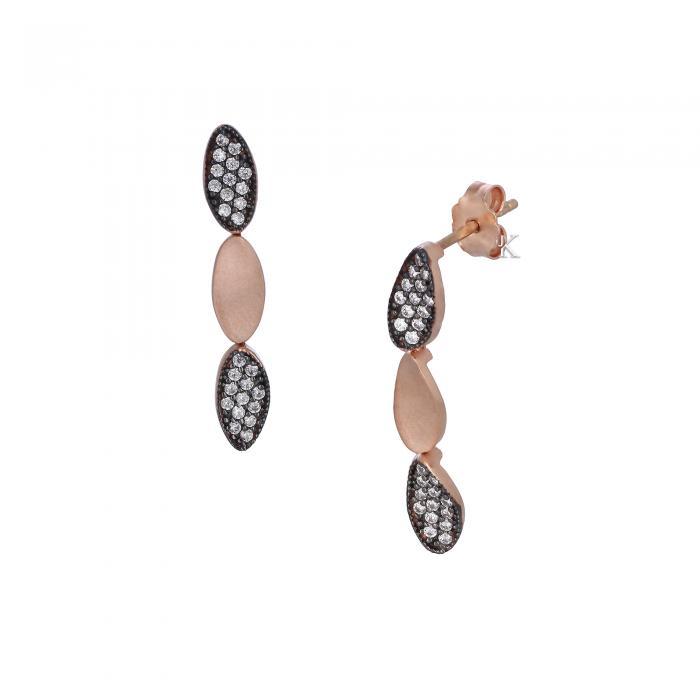 SKU-28326 /  Σκουλαρίκια Ροζ Χρυσός Κ14 με Ζιργκόν