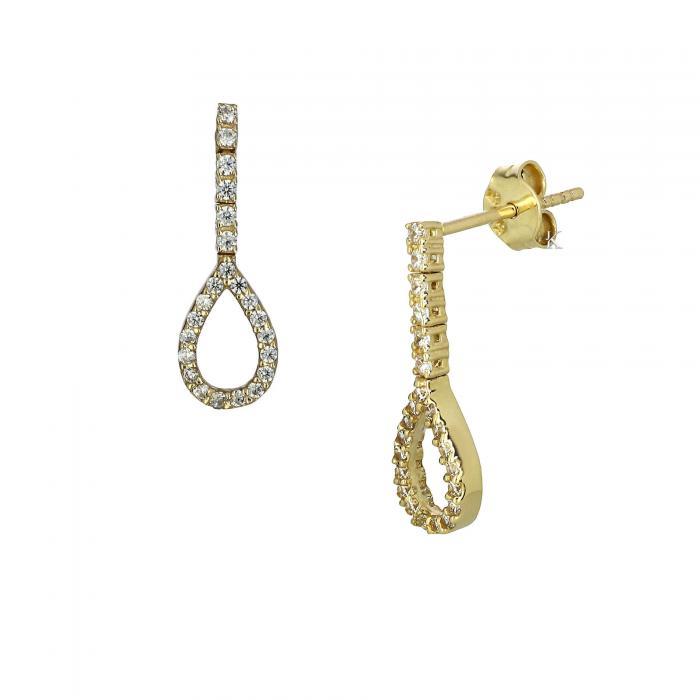 Σκουλαρίκια Χρυσός Κ14 με Ζιργκόν