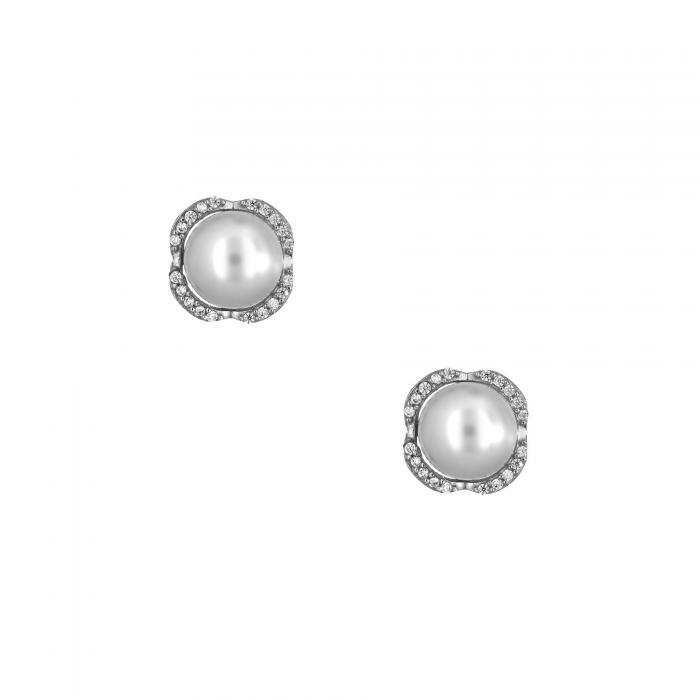 SKU-28490 / Σκουλαρίκια Λευκόχρυσος Κ14 με Μαργαριτάρια & Ζιργκόν