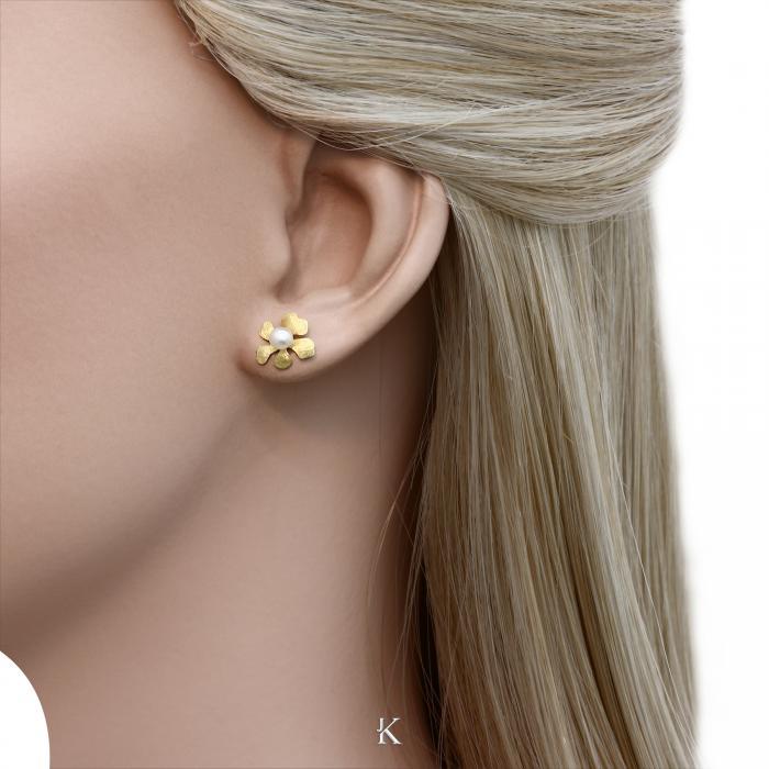 SKU-28203 / Σκουλαρίκια Χρυσός Κ14 με Μαργαριτάρια
