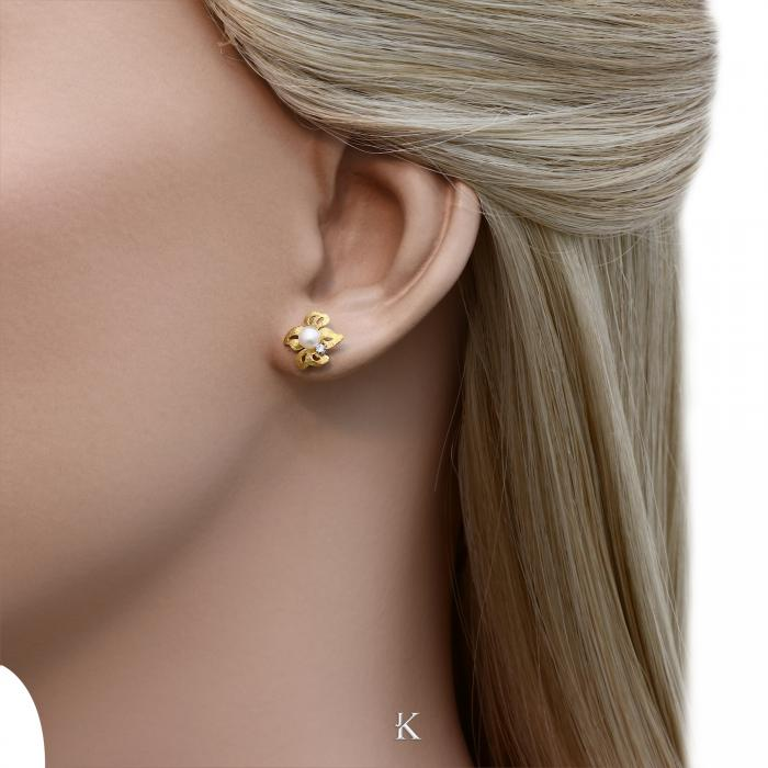 SKU-28198 / Σκουλαρίκια Χρυσός Κ14 με Μαργαριτάρια & Ζιργκόν