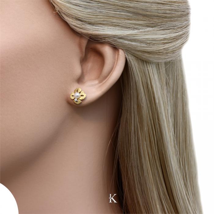 SKU-28199 / Σκουλαρίκια Χρυσός Κ14 με Μαργαριτάρια & Ζιργκόν