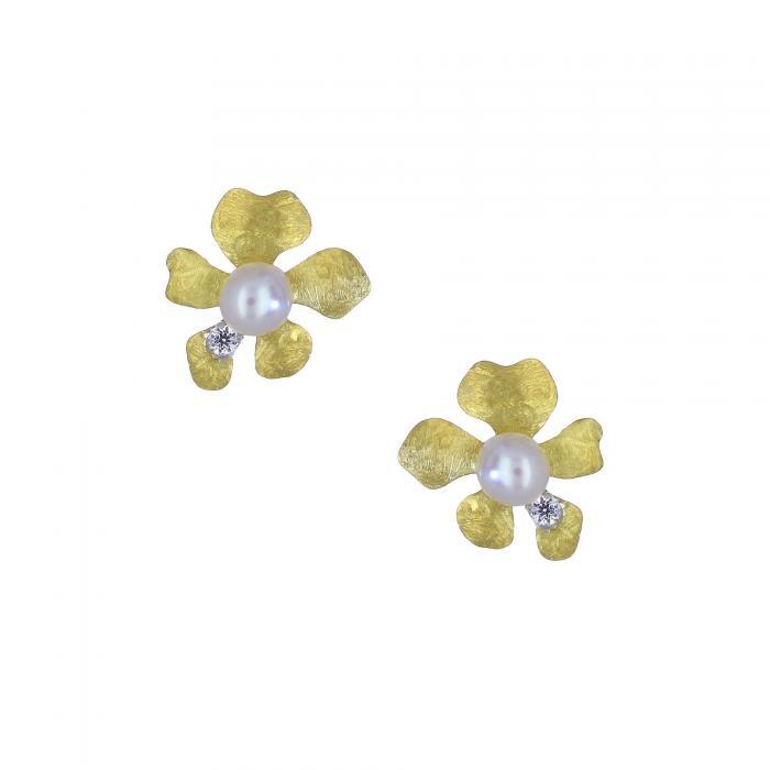 SKU-28201 / Σκουλαρίκια Χρυσός Κ14 με Μαργαριτάρια & Ζιργκόν