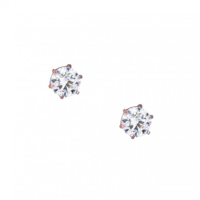 SKU-28330 / Σκουλαρίκια Ροζ Χρυσός Κ14 με Ζιργκόν