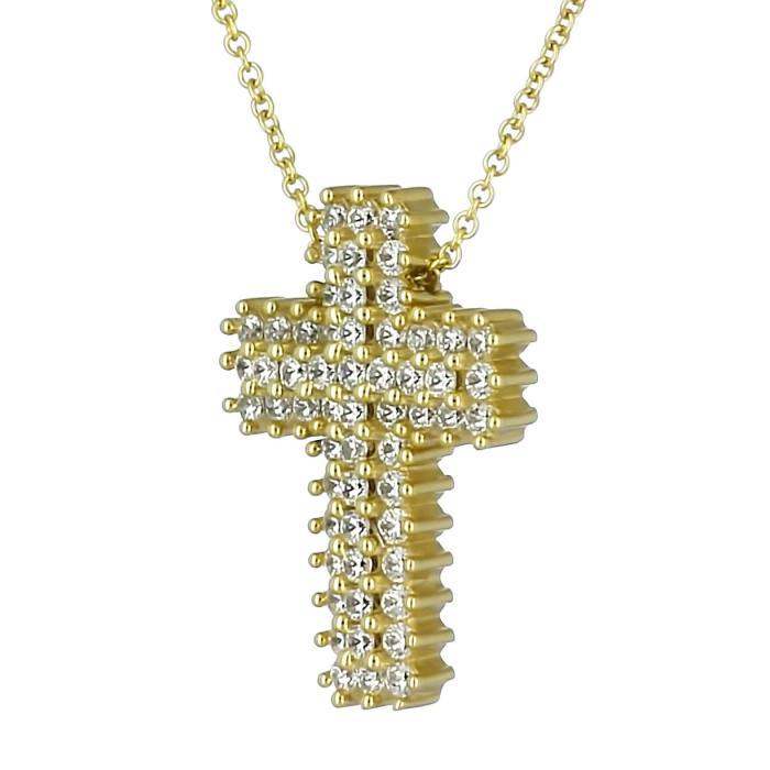 SKU-28573 / Σταυρός Facad'oro Χρυσός Κ18 με Ζιργκόν