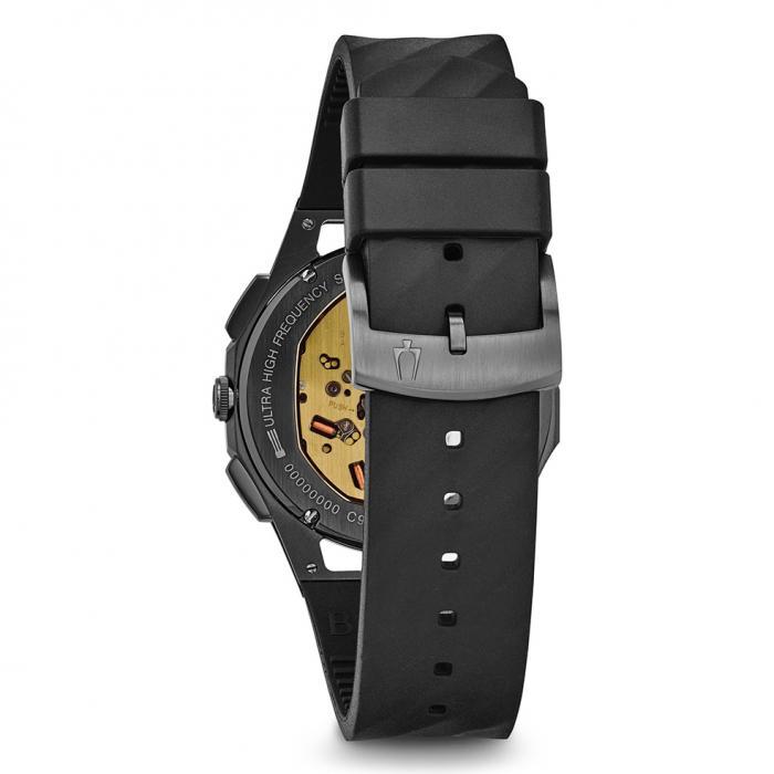 SKU-29042 / BULOVA Curv Chronograph Titanium Case Black Rubber Strap
