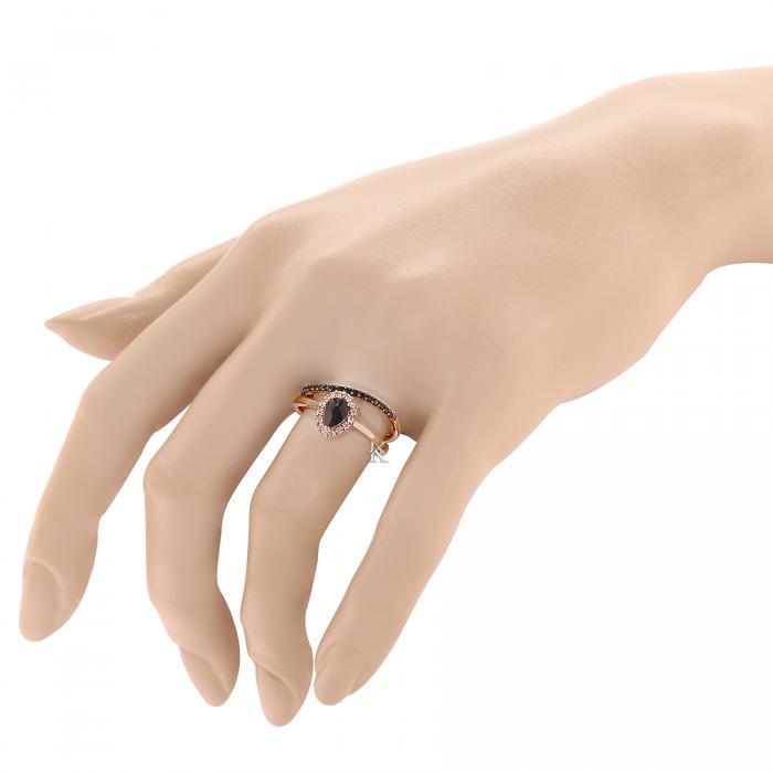 Δαχτυλίδι Σετ Ροζ Χρυσός Κ18 με Ζαφείρι, Λευκά & Μάυρα Διαμάντια